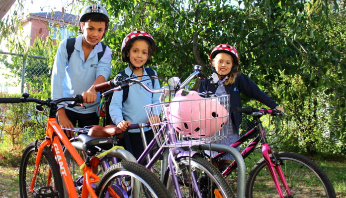 Students riding to school