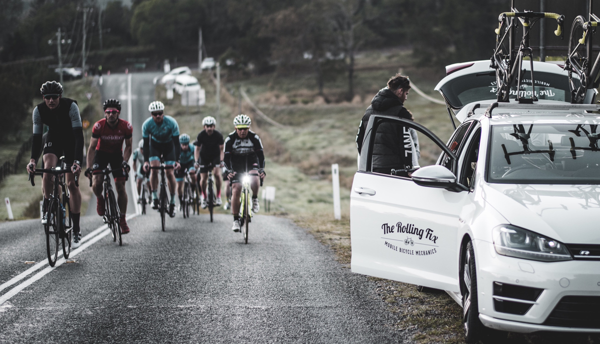 Supporting cyclists on-route Peaks Challenge Cradle Mountain