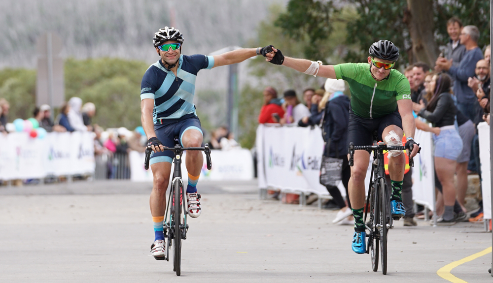 Cyclists finishing Peaks Challenge Falls Creek