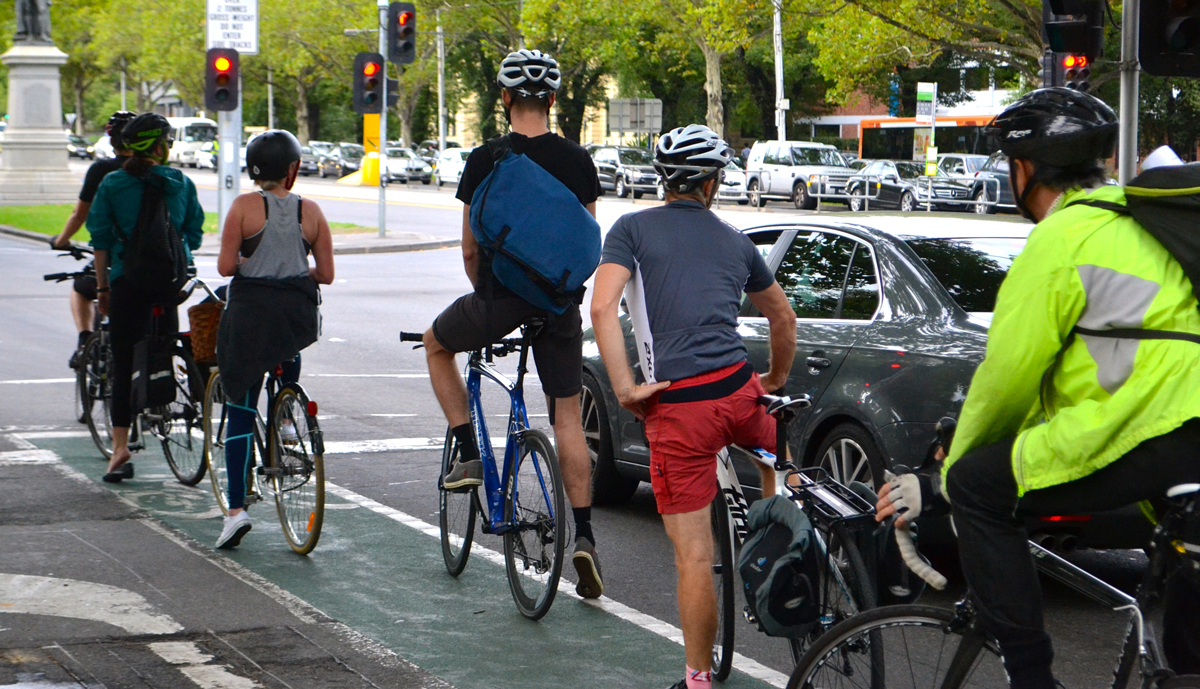 Bike commuters using bike lane