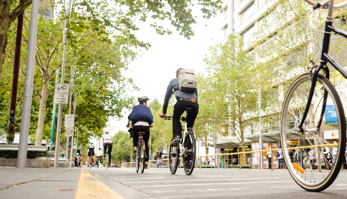 Cyclists's commuting to work