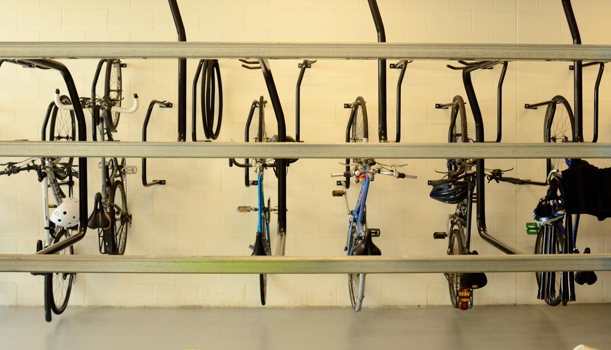 Workplace bike wall hanger