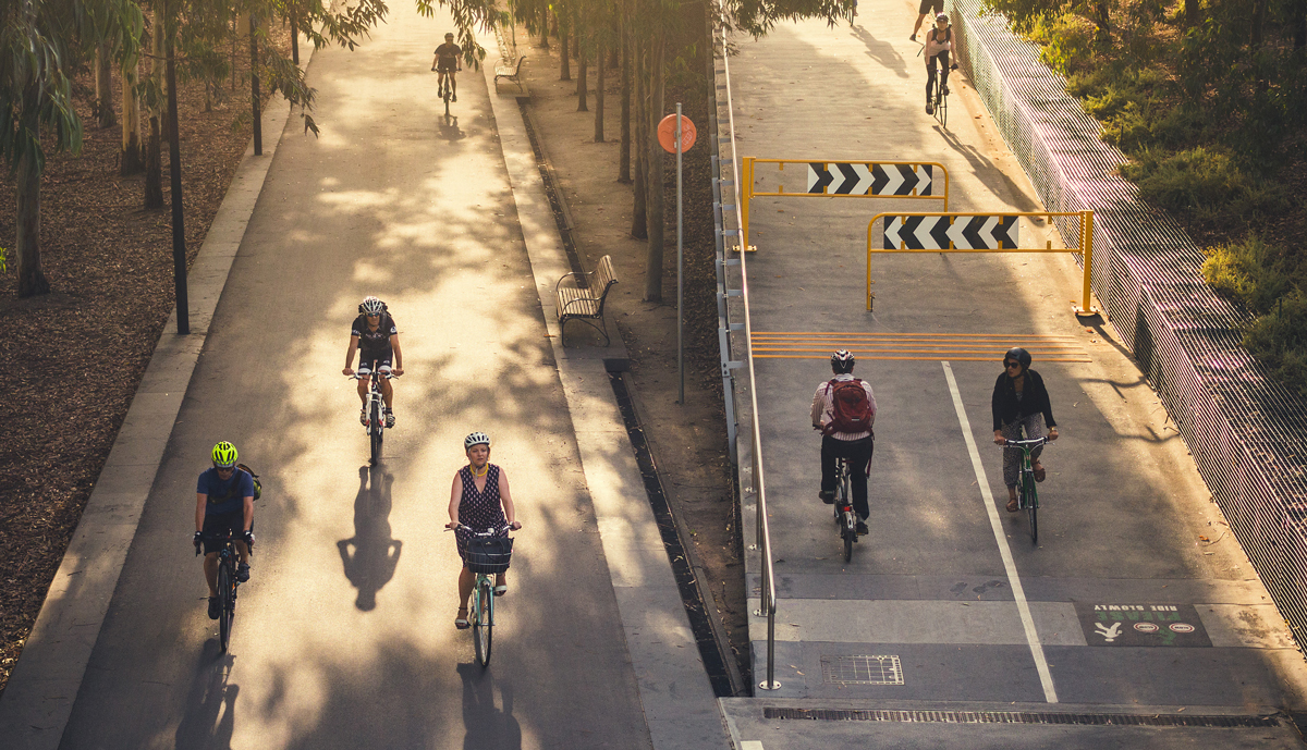 Bicycle commuters in Melbourne