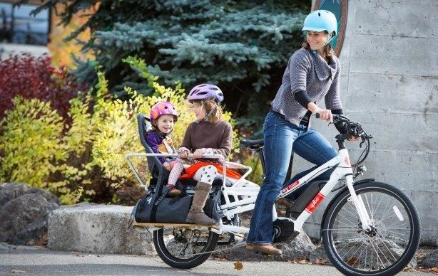 Premium cargo bike such as Yuba Spicy Curry with Bosch ebike system is a perfect family vehicle