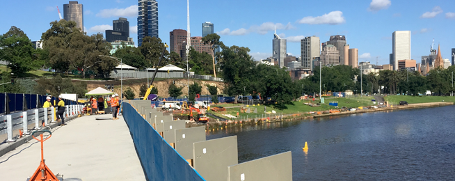 With a little luck the new path across Swan Street Bridge should be open in time for the Boxing Day Test, New Year and the 2018 Australian Open.