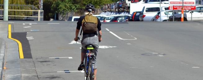 Bike rider on Collins Street, Hobart