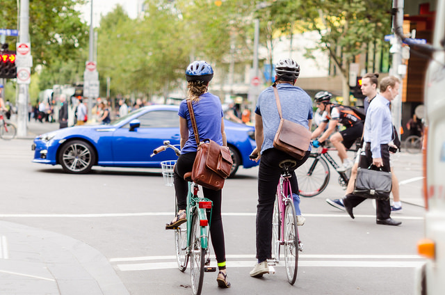 Bike commuters on Swanston Street, Melbourne, Bicycle Network