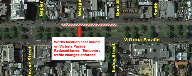 Victoria Parade closure map