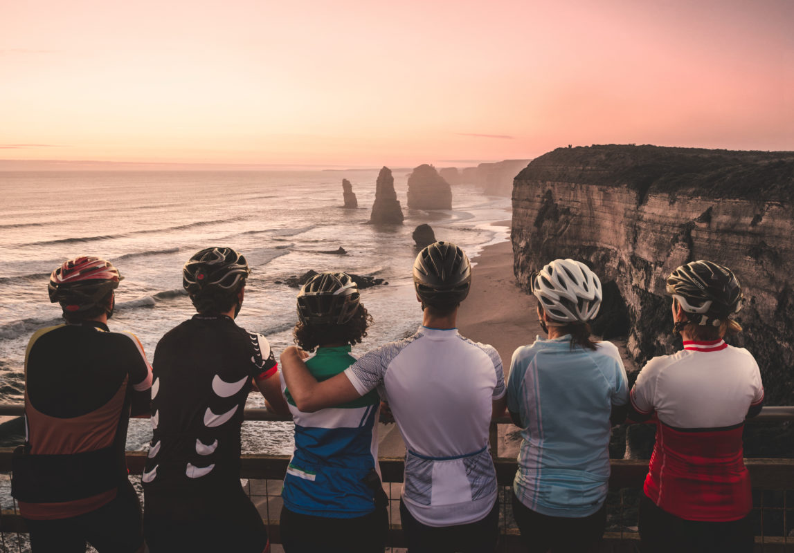 Bike riders visiting the 12 Apostles