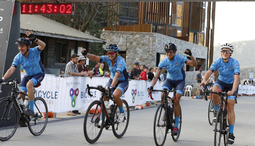 12 hour wave leaders crossing the finish line at Peaks Challenge Falls Creek