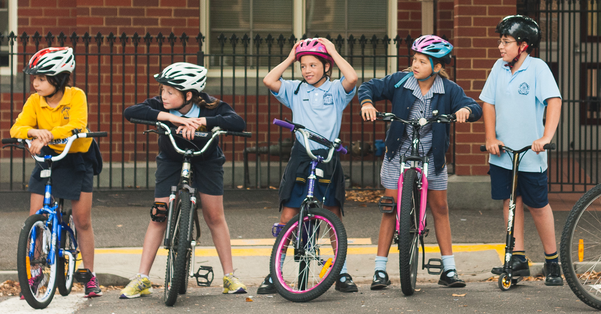 Kids on bikes at National Ride2School Day