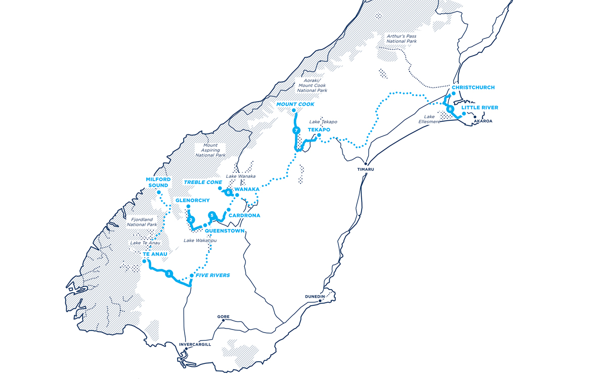 Great Kiwi Escape 2020 route map
