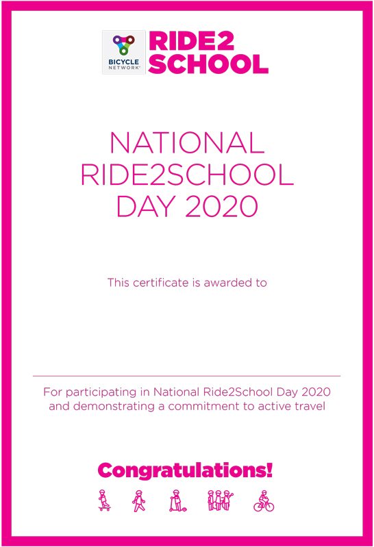 National Ride2School Day certificate