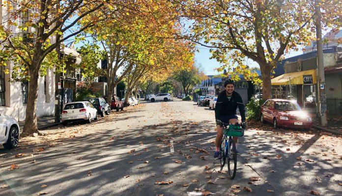 Bike commute in autumn