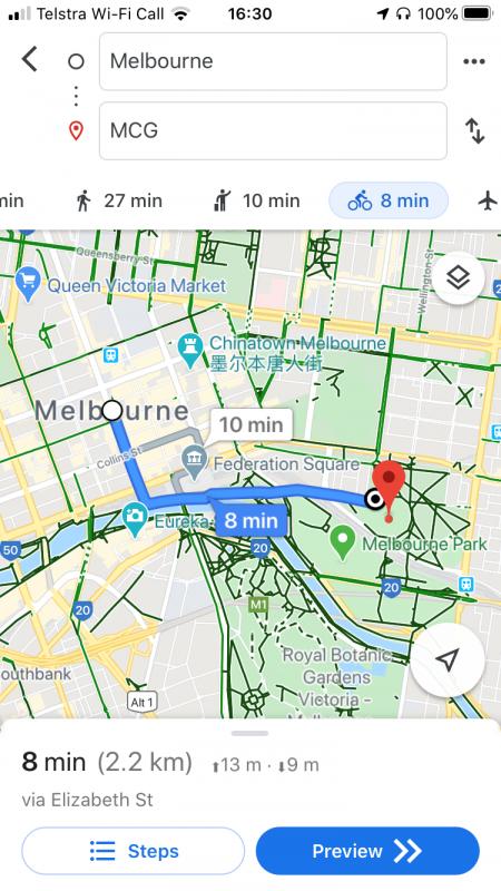 Bike directions - Google Maps