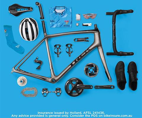 Bike equipment flat lay