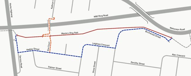 M80 trail closure in Fawkner